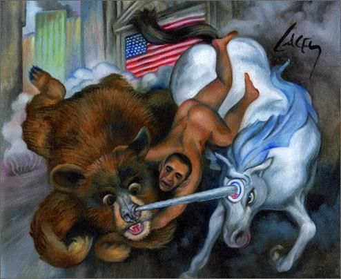 The Obamessiah Fights Off The Evil Wall Street Bear